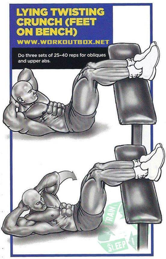 Lying Twisting Crunch - Feet On Bench Sixpack Workout Plan Abs