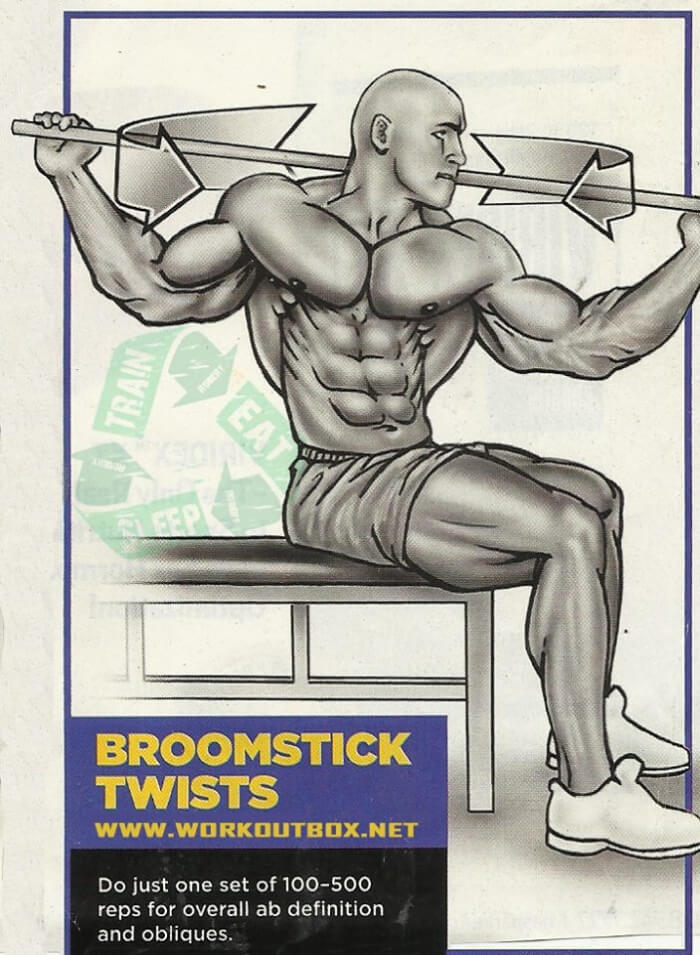 Broomstick Twists - Healthy Fitness Sixpack Abs Training Workout