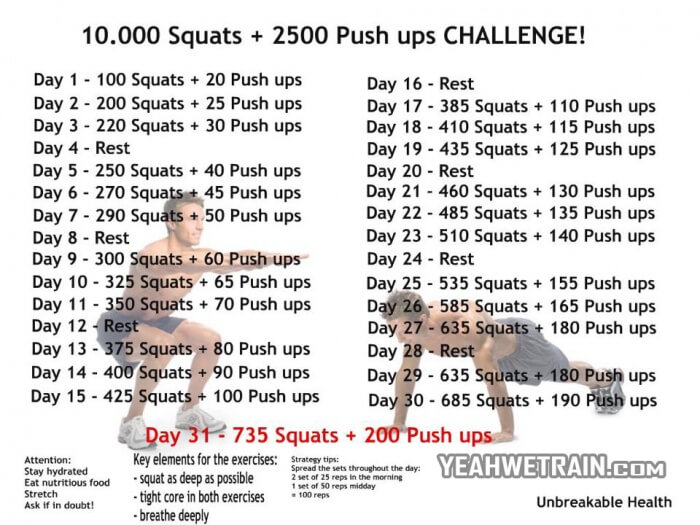 10.000 Squats Plus 2.5000 Push Up Challenge - Healthy Fitness Ab