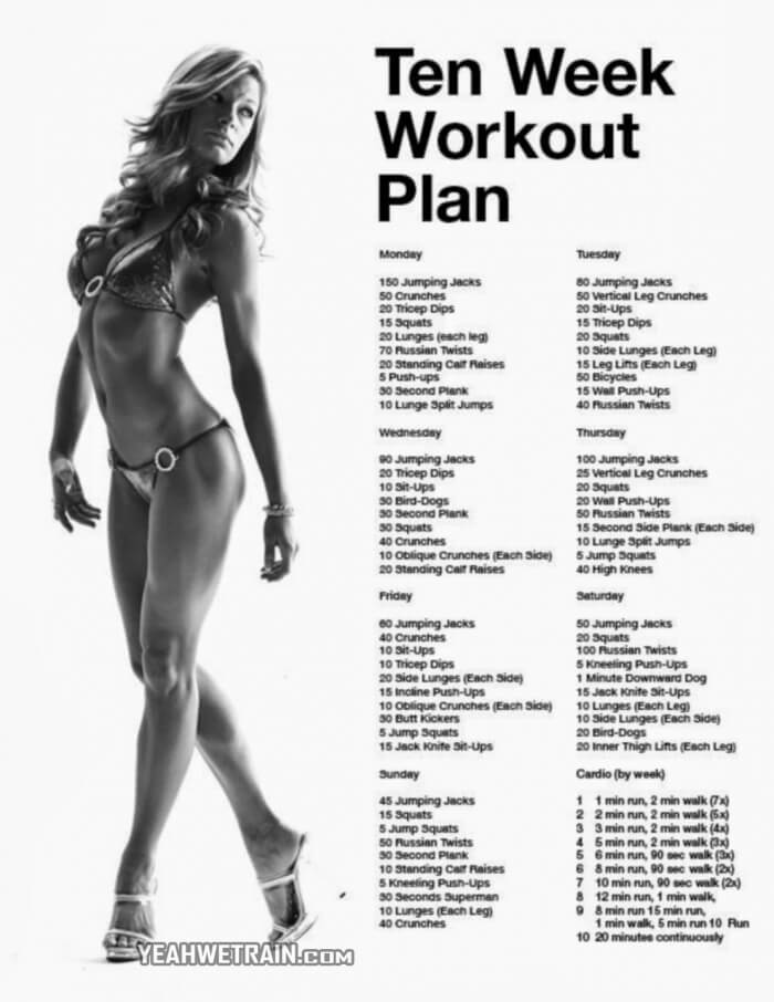 Ten Week Workout Plan - Healthy Fitness Training Routine 10 Body