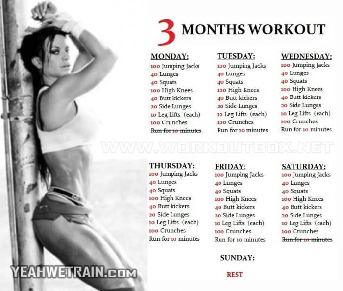 3 Months Workout Plan - Healthy Fitness Training 90 Days Burning