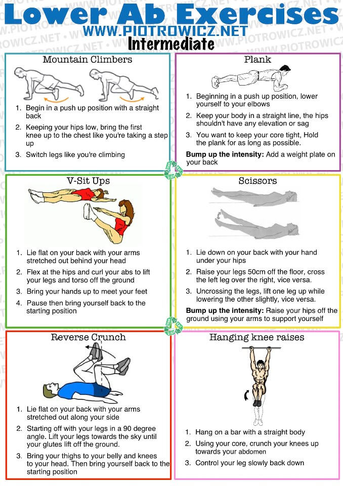 Lower Ab Exercises INTERMEDIATE