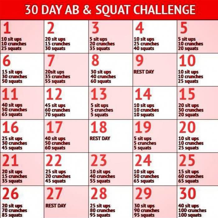 30 Day Ab Squat Challenge Healthy Fitness Workout Awesome
