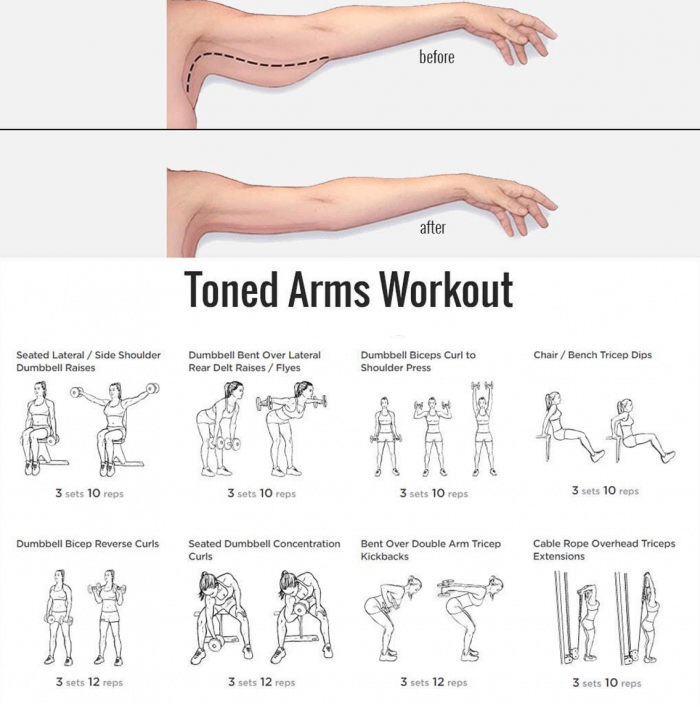 Toned Arms Workout - Healthy Fitness Training Plan Arm Triceps