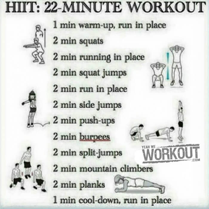 Hiit 22 Minute Workout Plan Healthy Fitness Training Routine